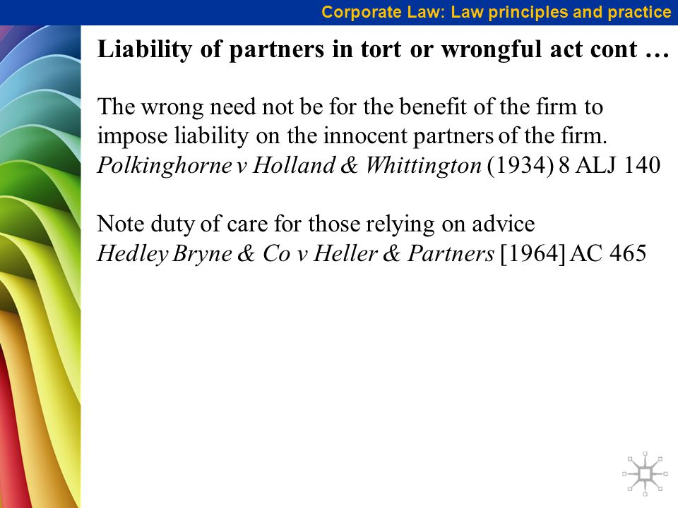 Liability of partners in tort or wrongful act cont …