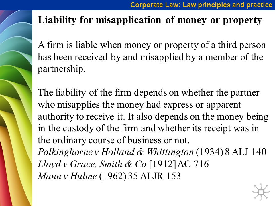 Liability for misapplication of money or property