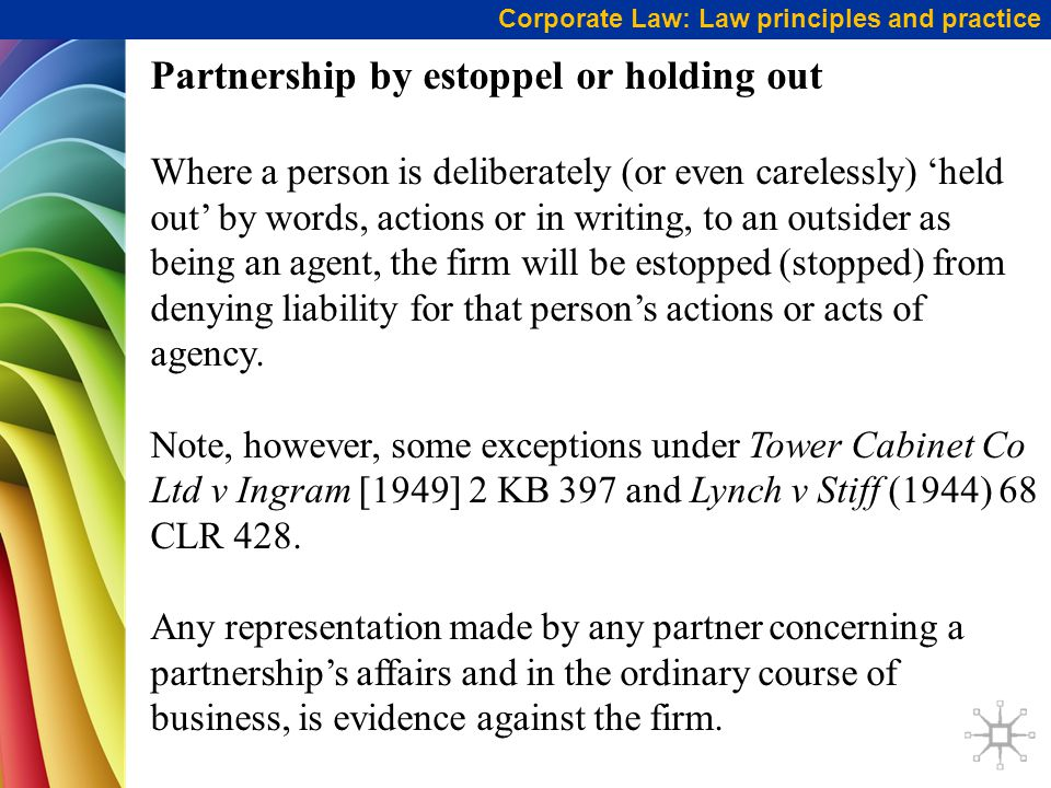Partnership by estoppel or holding out
