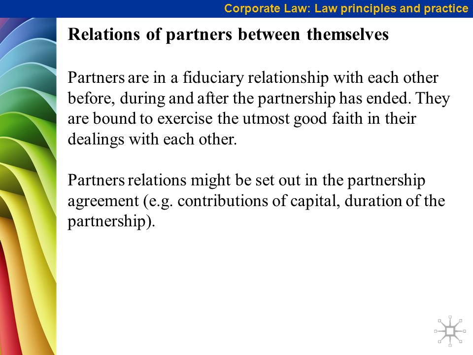 Relations of partners between themselves