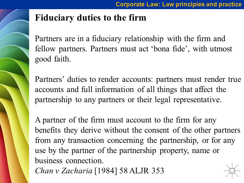 Fiduciary duties to the firm