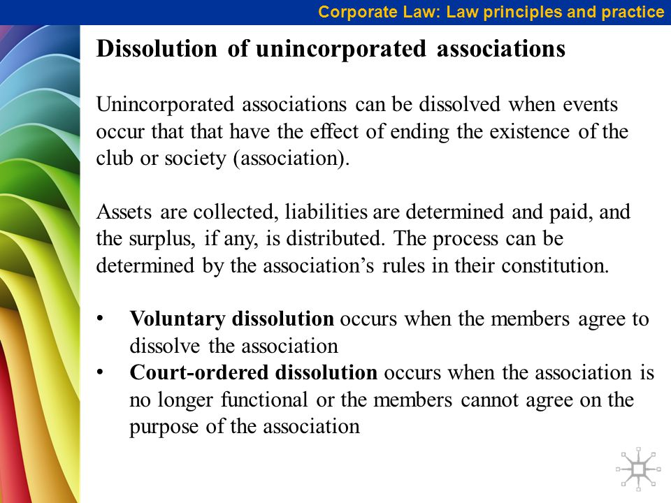 Dissolution of unincorporated associations