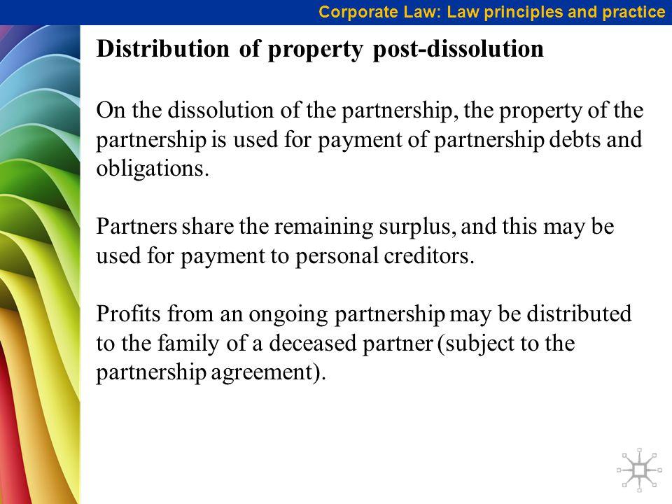 Distribution of property post-dissolution