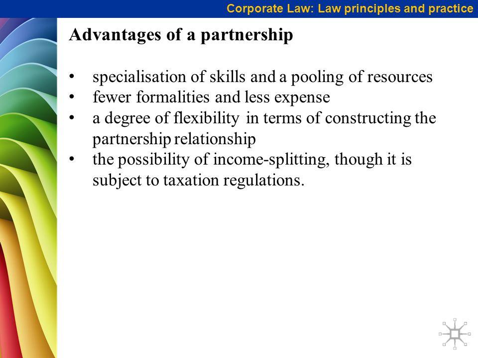 Advantages of a partnership