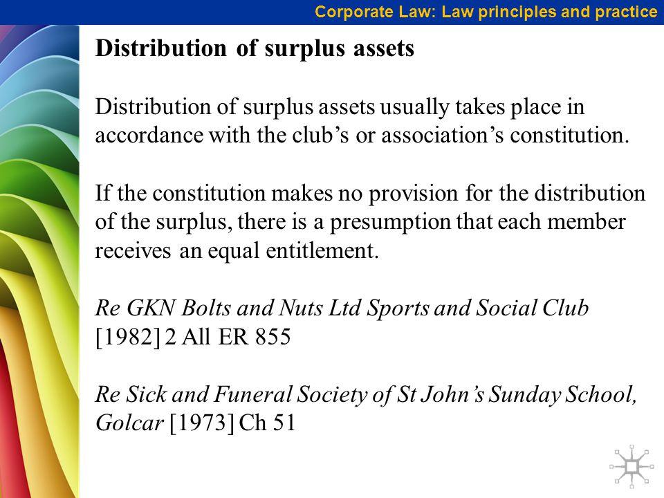 Distribution of surplus assets