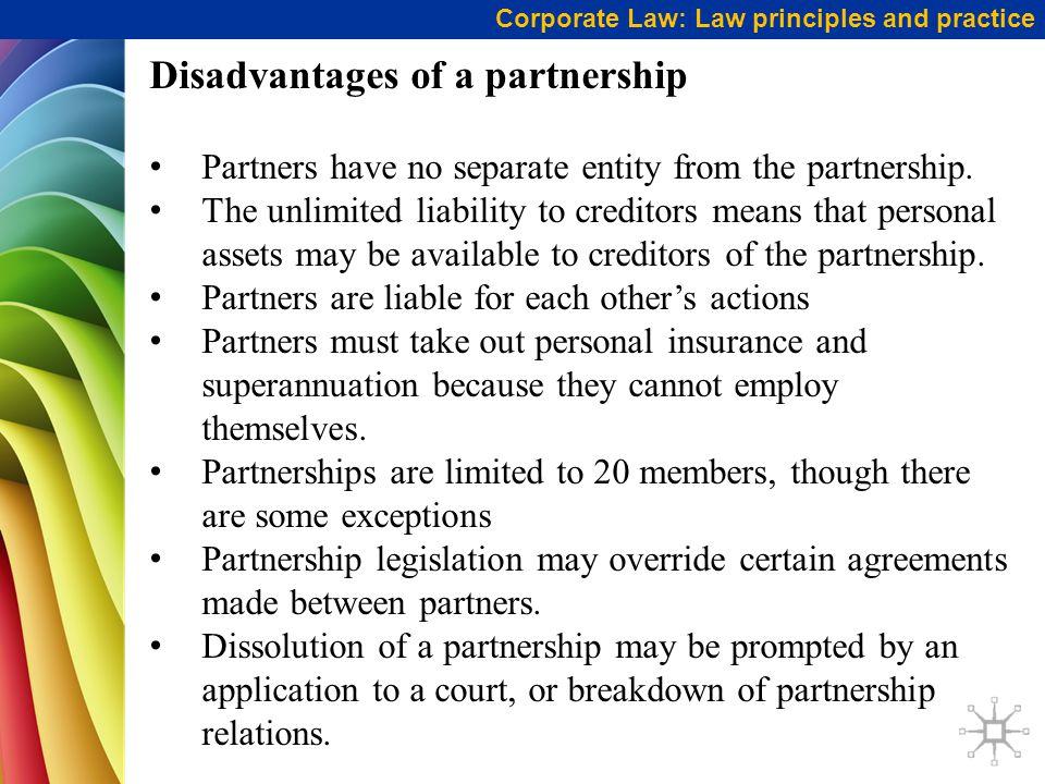 Disadvantages of a partnership