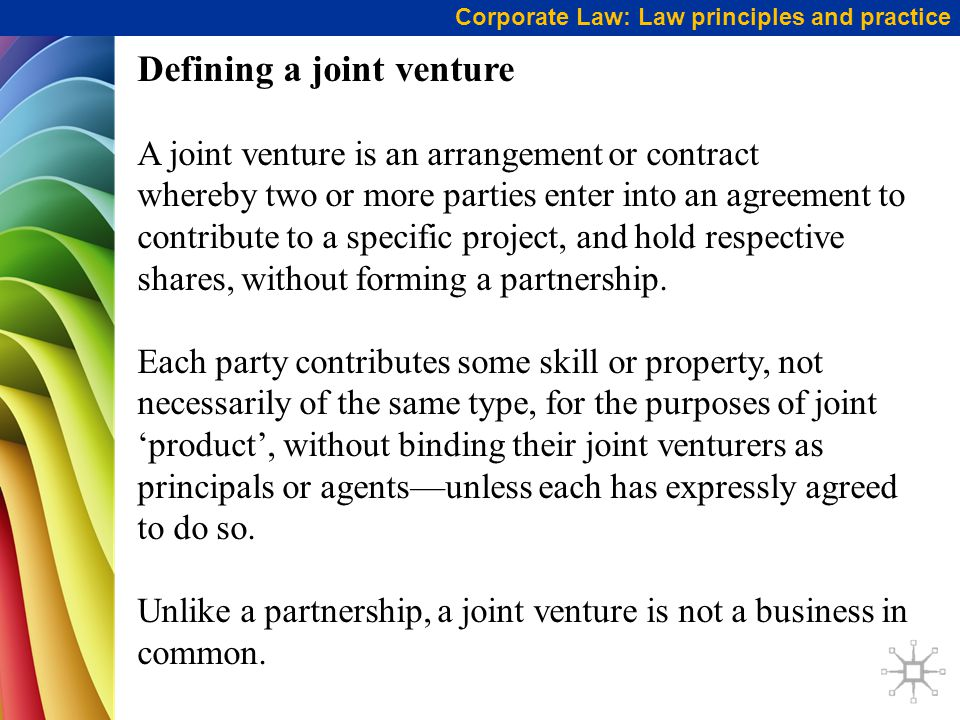 Defining a joint venture