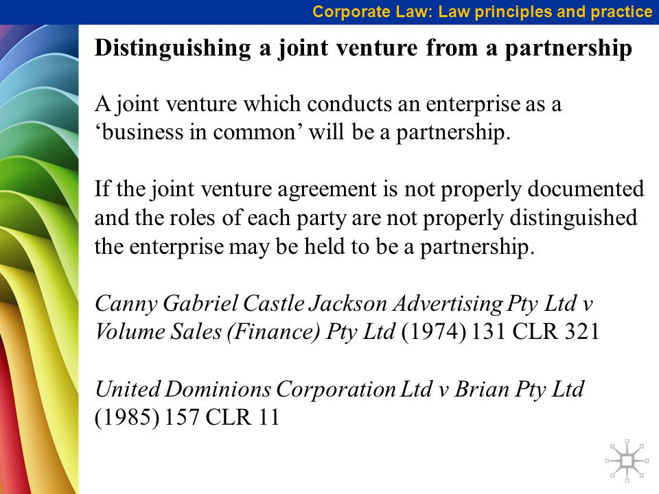 Distinguishing a joint venture from a partnership