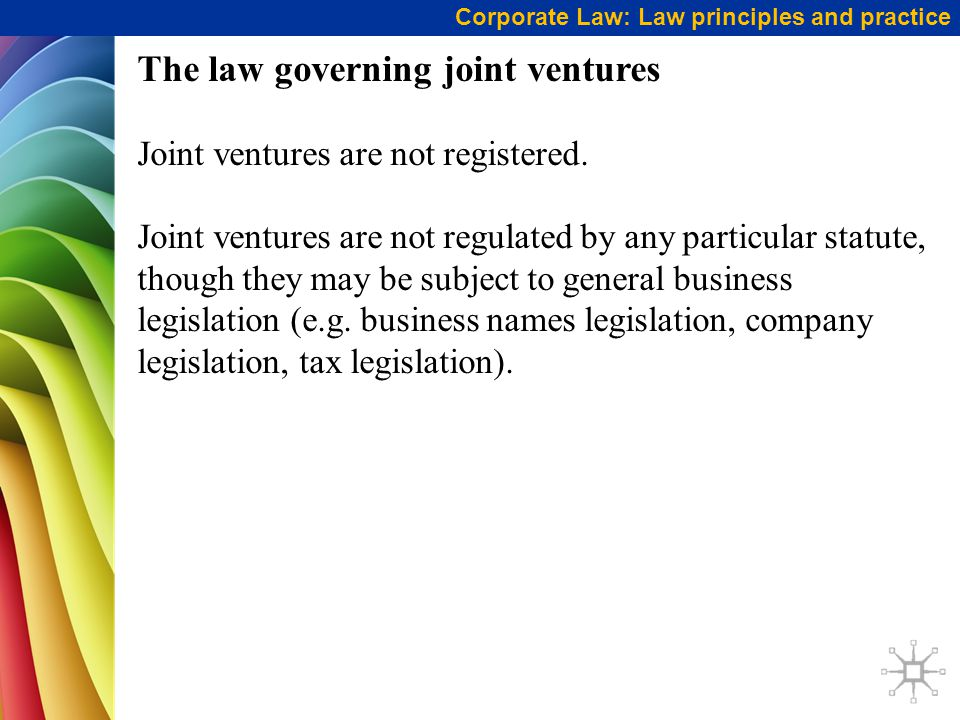 The law governing joint ventures