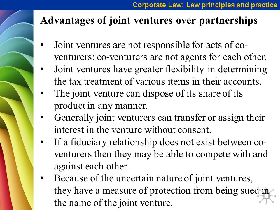 Advantages of joint ventures over partnerships