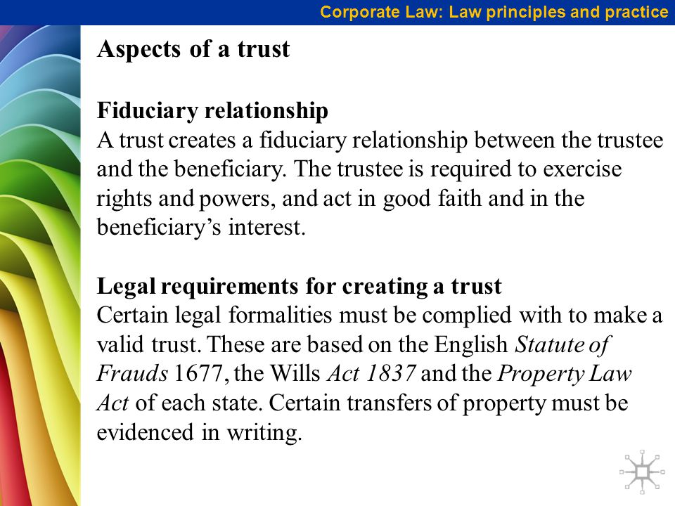 Aspects of a trust Fiduciary relationship