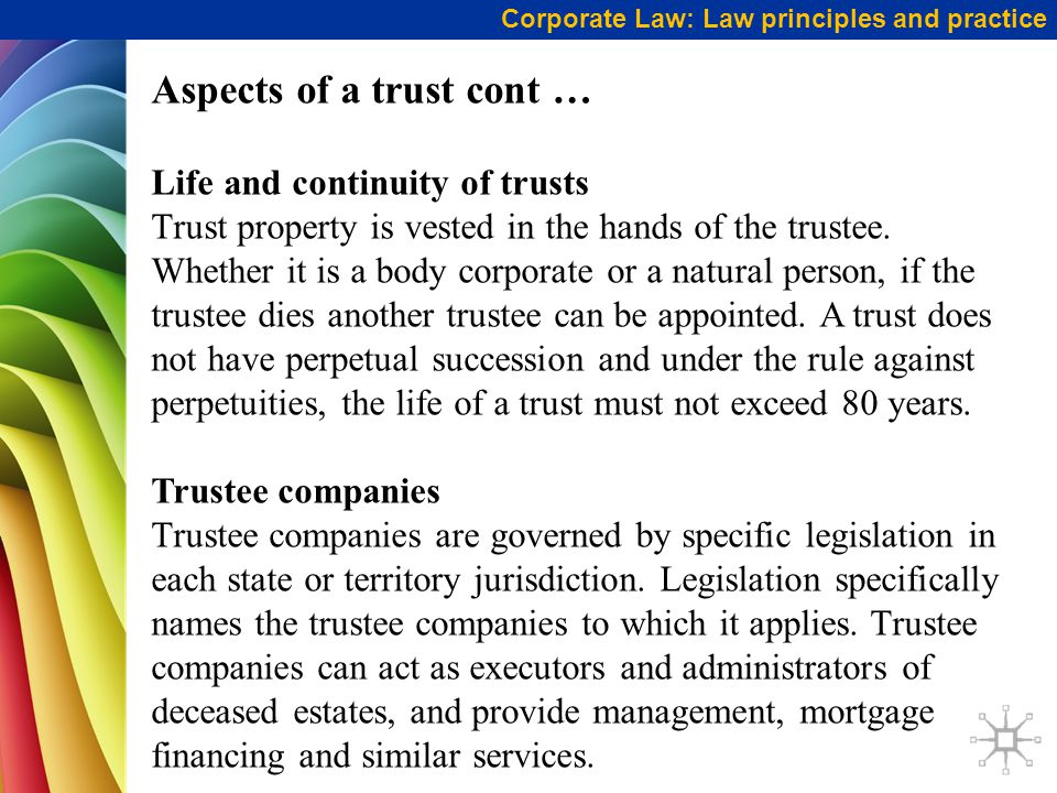 Aspects of a trust cont …