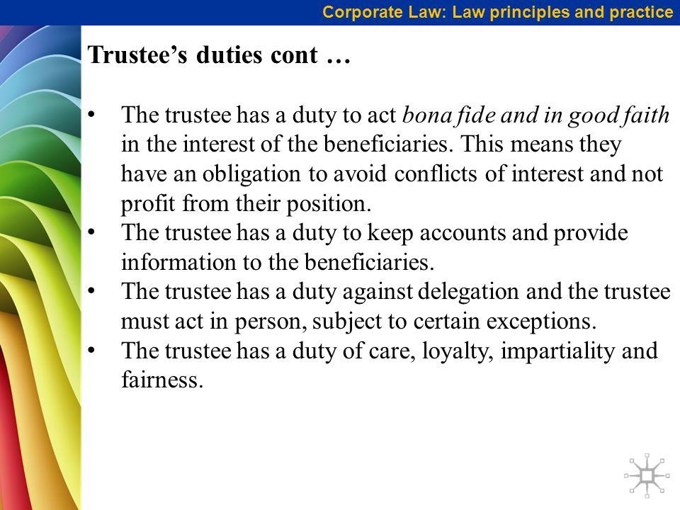 Trustee's duties cont …