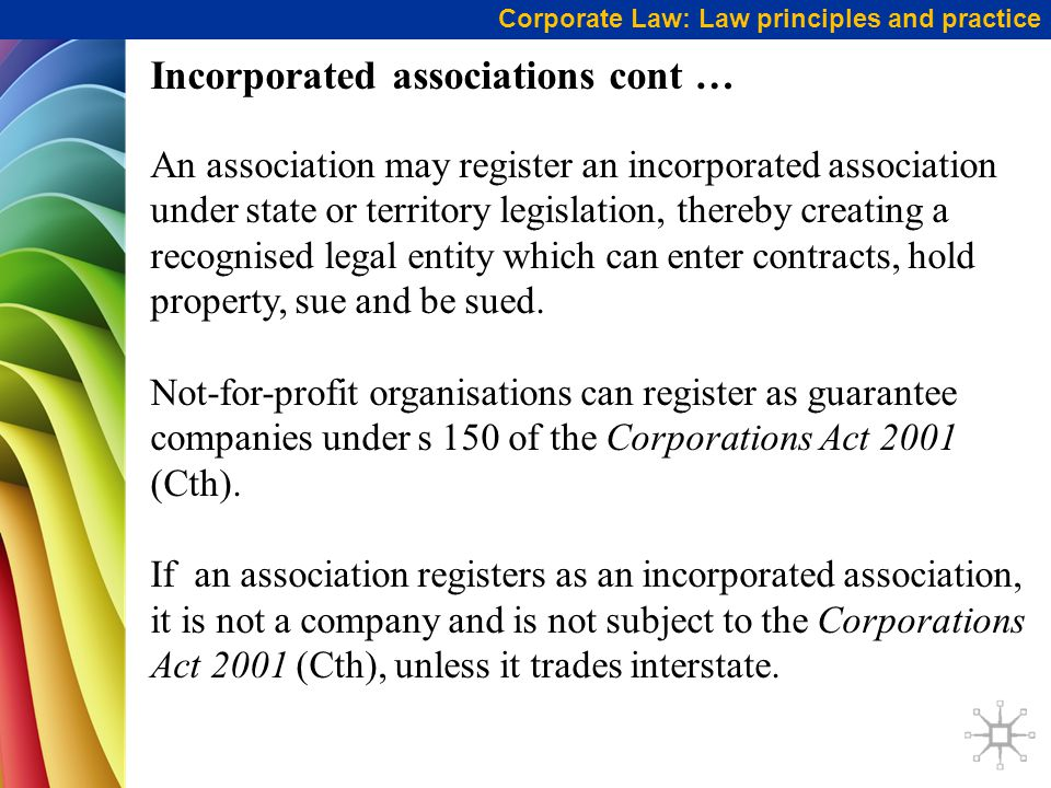 Incorporated associations cont …