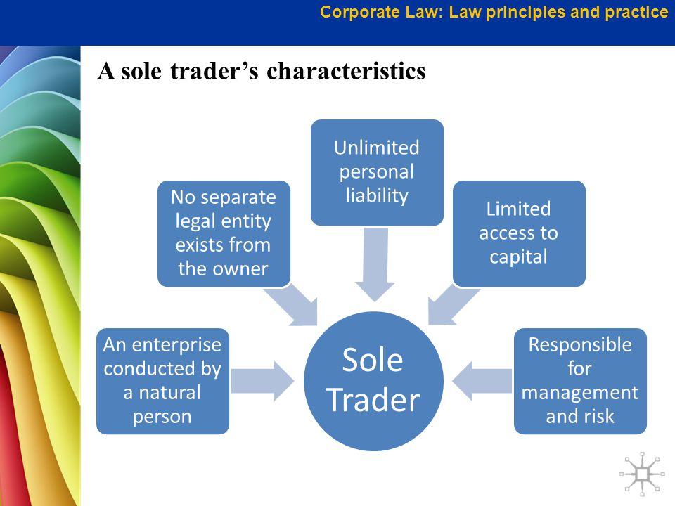 A sole trader's characteristics