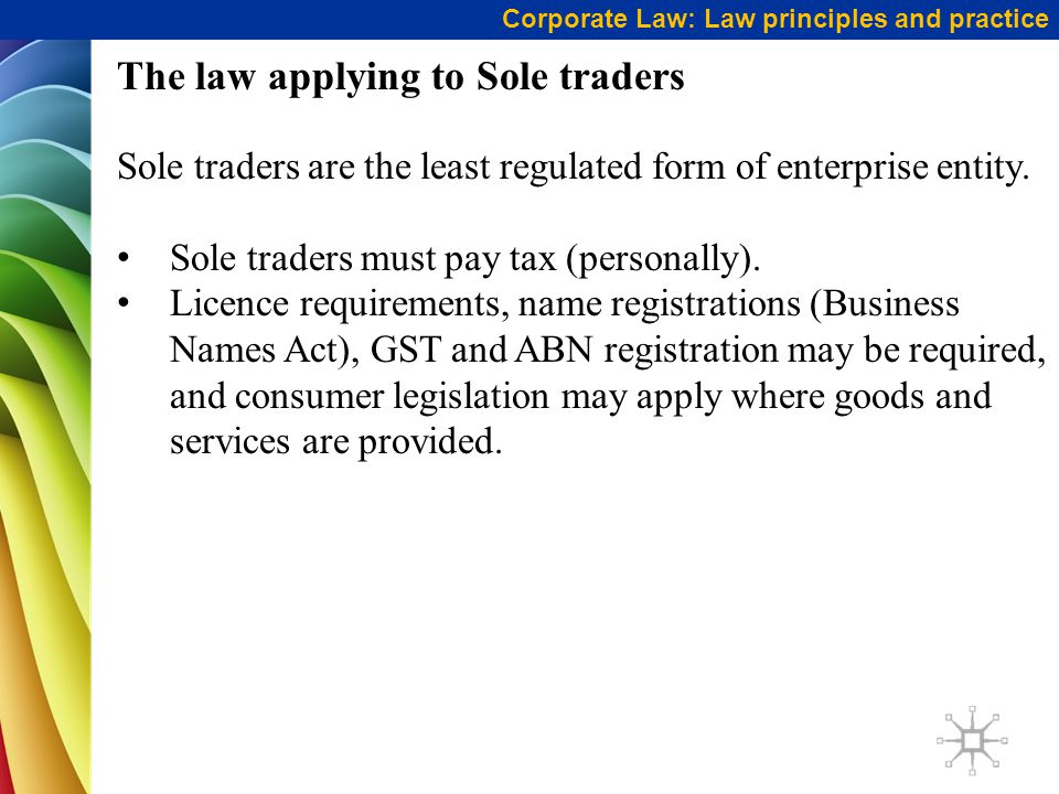 The law applying to Sole traders