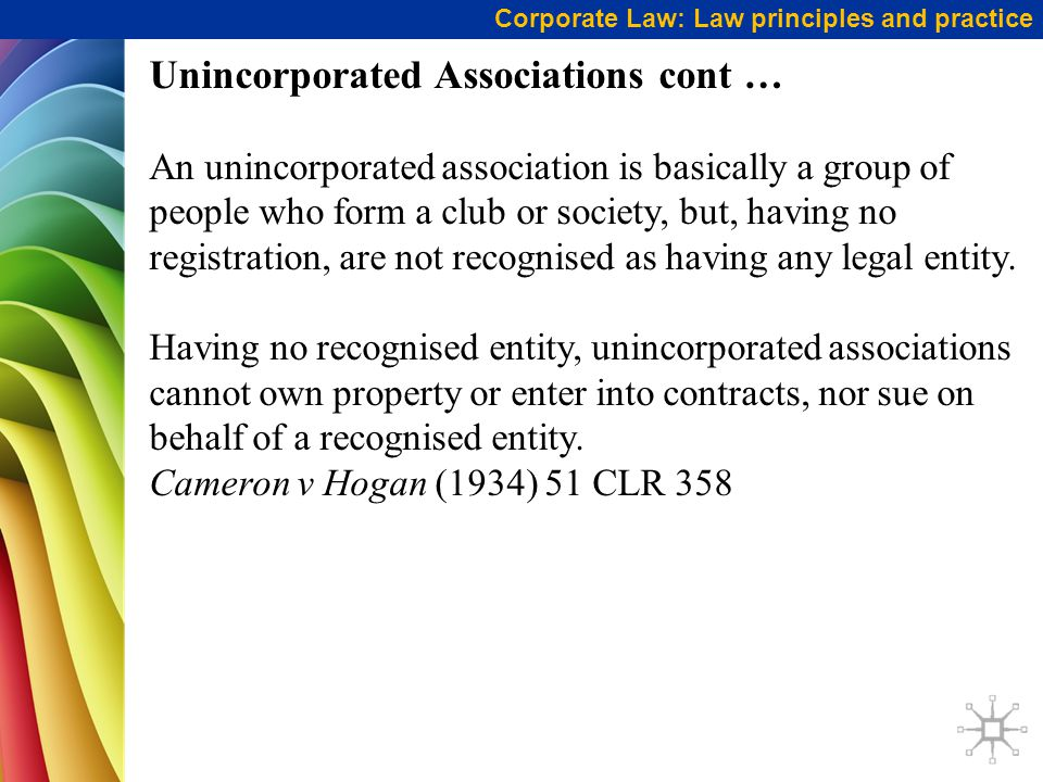 Unincorporated Associations cont …