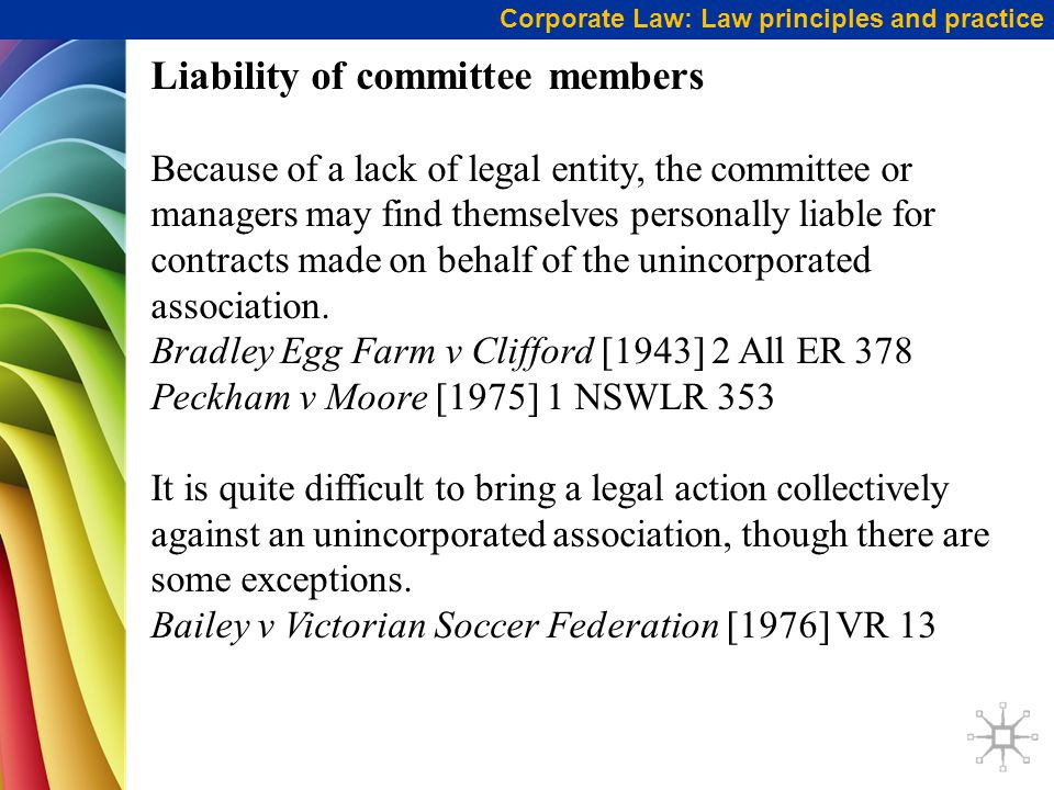 Liability of committee members