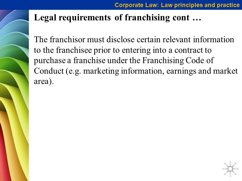 Legal requirements of franchising cont …