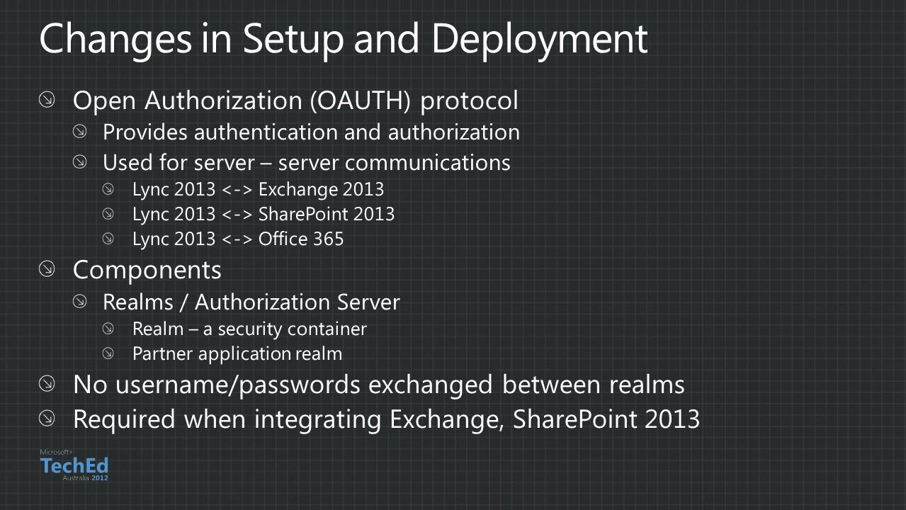 Changes in Setup and Deployment