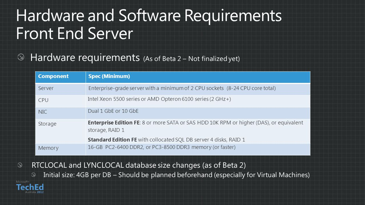 Hardware and Software Requirements Front End Server
