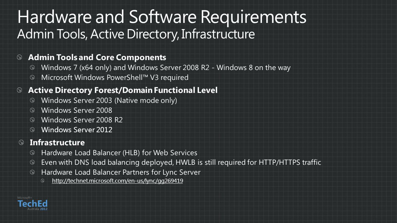 Hardware and Software Requirements Admin Tools, Active Directory, Infrastructure