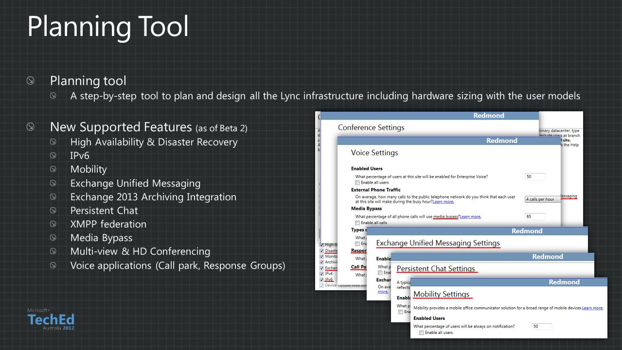 Planning Tool Planning tool New Supported Features (as of Beta 2)