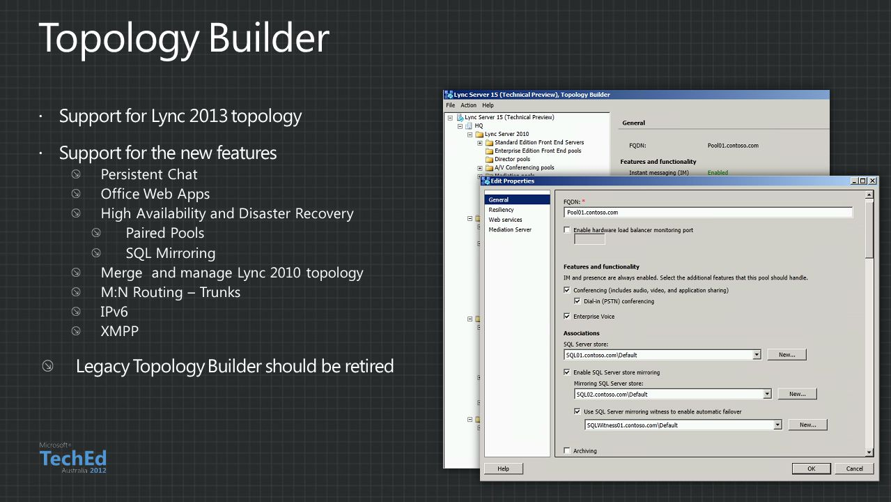 Topology Builder Support for Lync 2013 topology