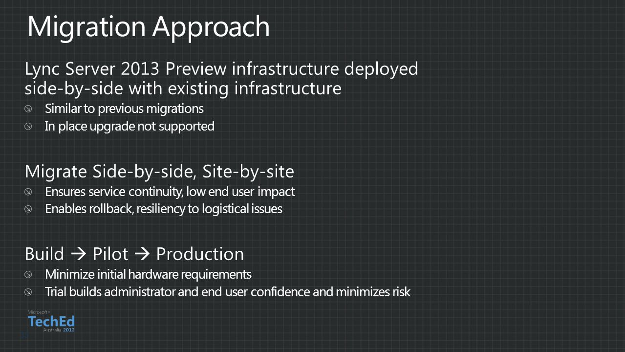 Migration Approach Lync Server 2013 Preview infrastructure deployed side-by-side with existing infrastructure.