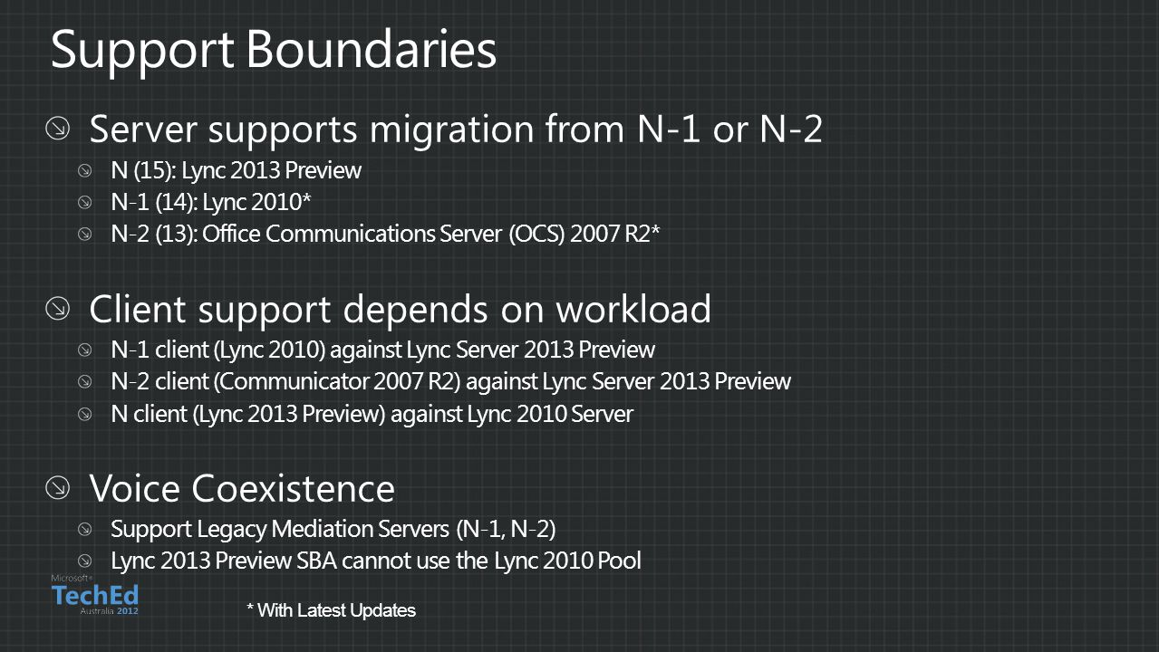 Support Boundaries Server supports migration from N-1 or N-2
