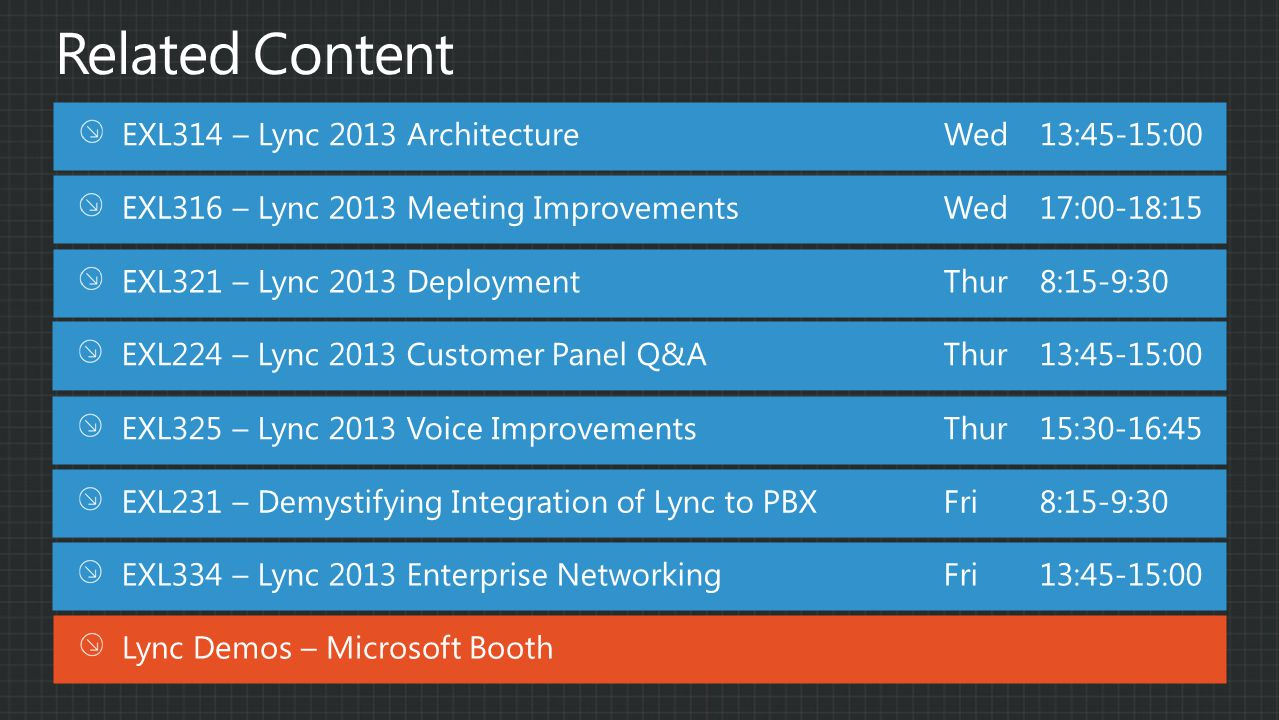 Related Content EXL314 – Lync 2013 Architecture Wed 13:45-15:00