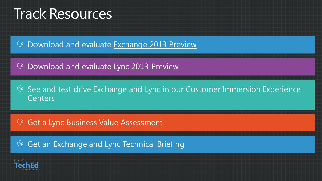 Track Resources Download and evaluate Exchange 2013 Preview