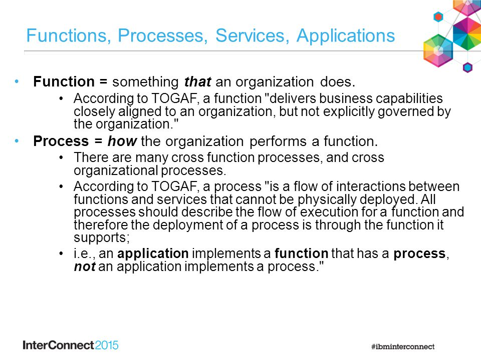 Functions, Processes, Services, Applications