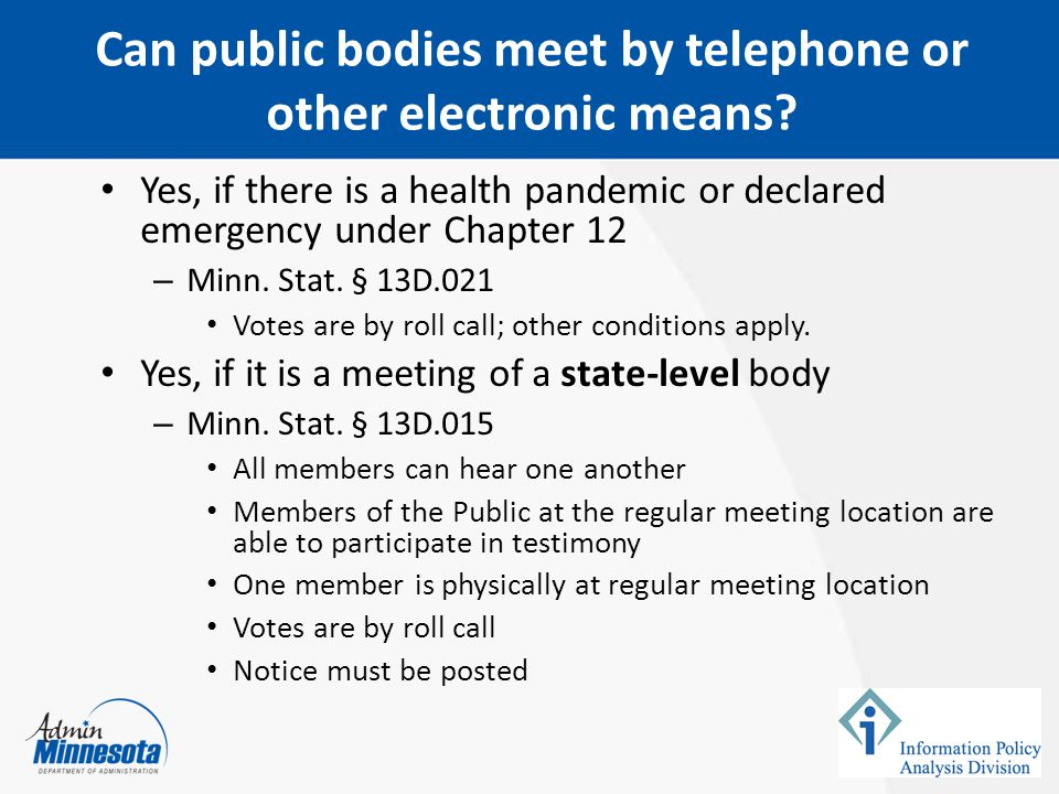 Can public bodies meet by telephone or other electronic means