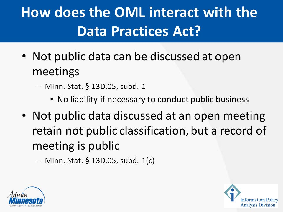 How does the OML interact with the Data Practices Act