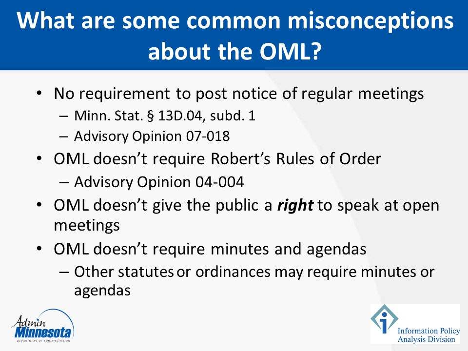 What are some common misconceptions about the OML