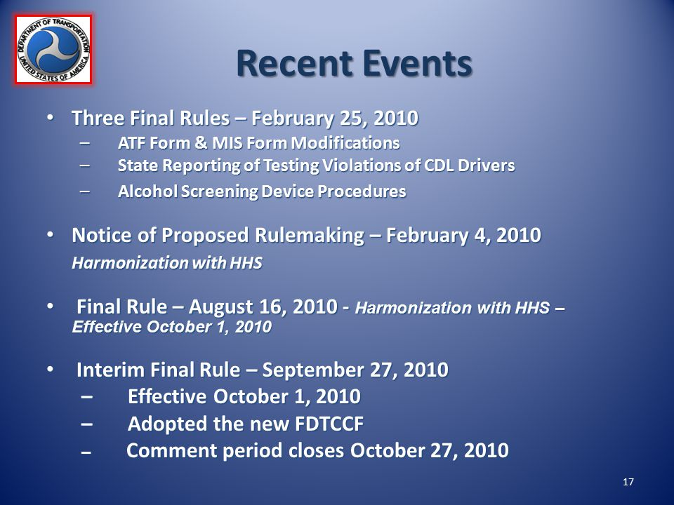 Recent Events Three Final Rules – February 25, 2010