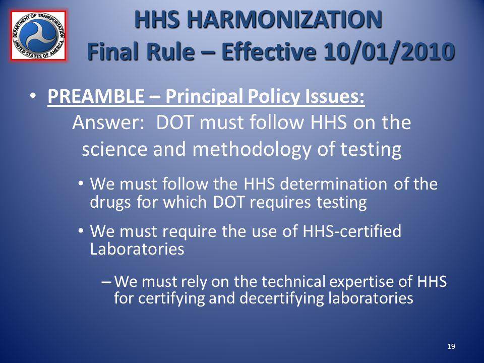 HHS HARMONIZATION Final Rule – Effective 10/01/2010