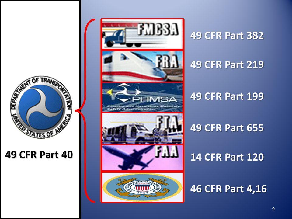 49 CFR Part 382 49 CFR Part 219. 49 CFR Part 199. 49 CFR Part 655. 49 CFR Part 40. 14 CFR Part 120.