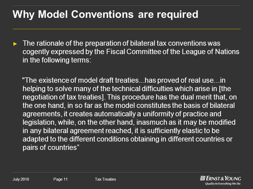 Why Model Conventions are required