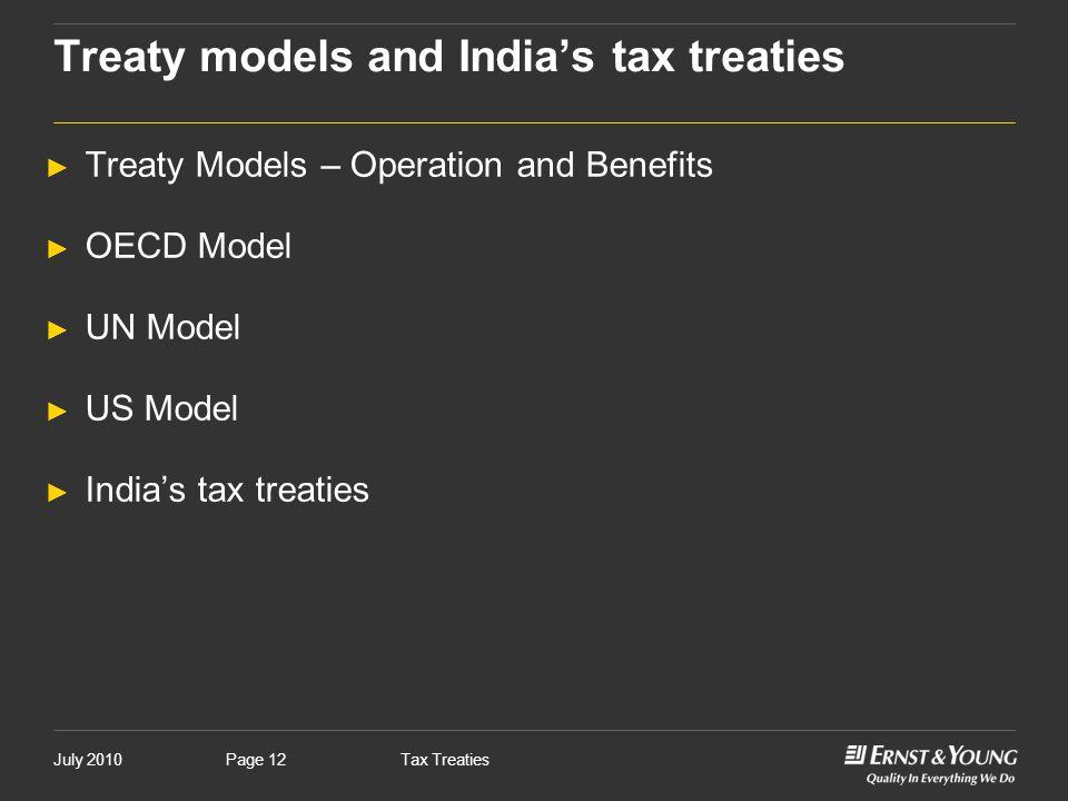 Treaty models and India's tax treaties