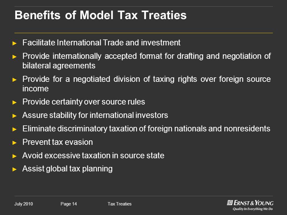 Benefits of Model Tax Treaties