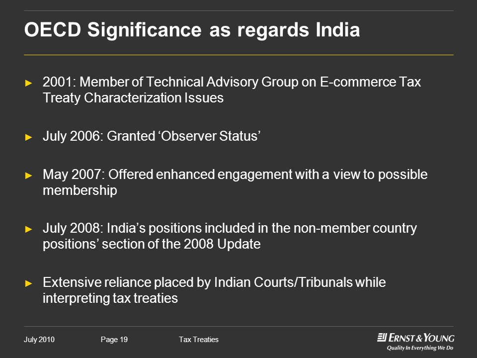 OECD Significance as regards India