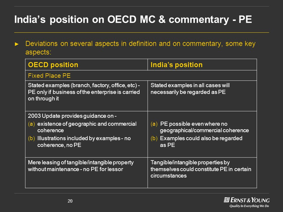 India's position on OECD MC & commentary - PE