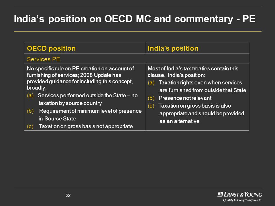 India's position on OECD MC and commentary - PE