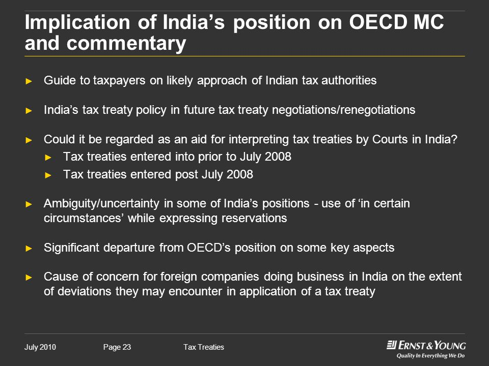 Implication of India's position on OECD MC and commentary
