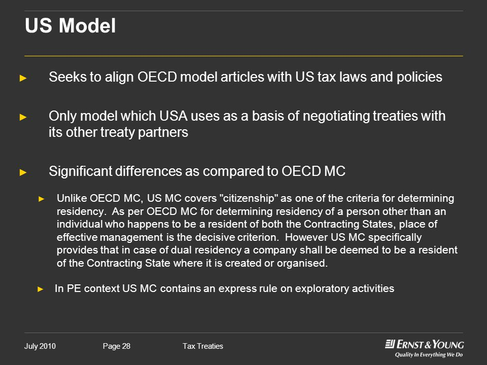 US Model Seeks to align OECD model articles with US tax laws and policies.
