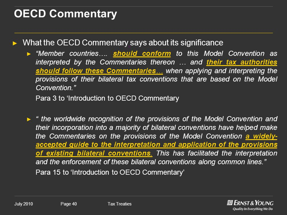 OECD Commentary What the OECD Commentary says about its significance