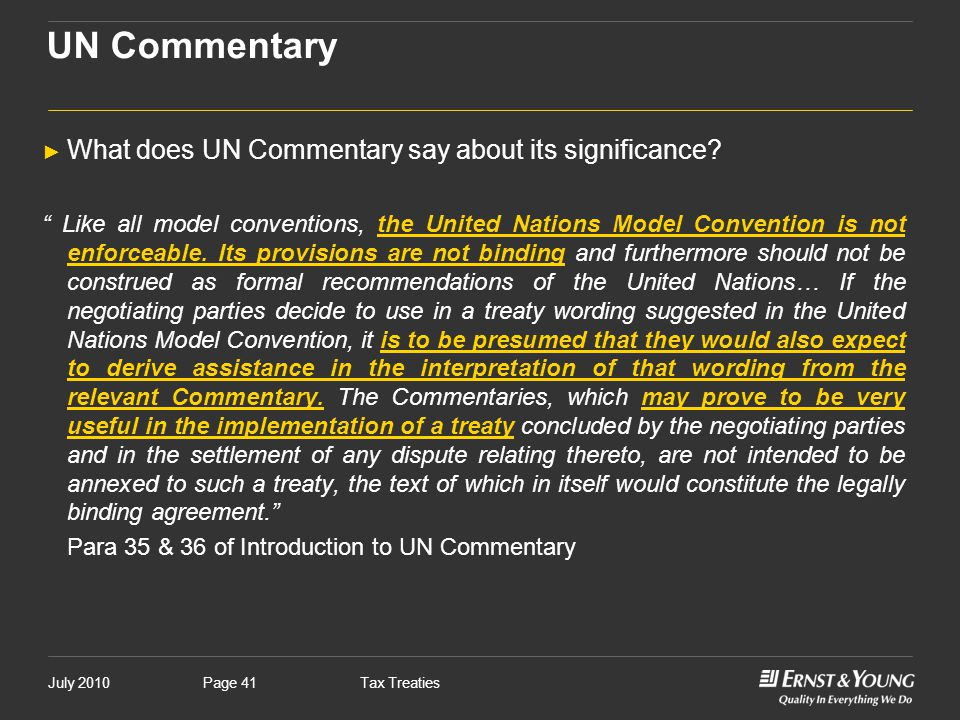 UN Commentary What does UN Commentary say about its significance
