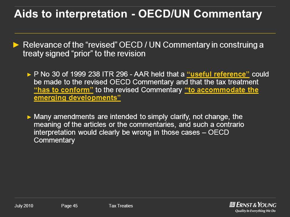 Aids to interpretation - OECD/UN Commentary